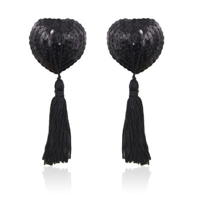 Caches Tétons Sequin Heart - Noir