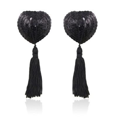 Sequin Heart Nipple Cover - Black