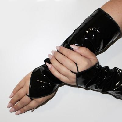 Short Shiny Fingerless Gloves